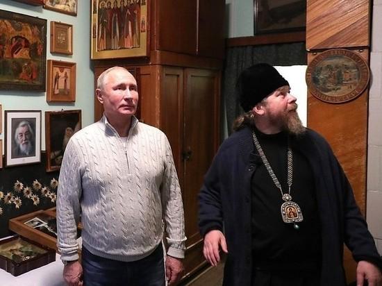 Путин неожиданно посетил Свято-Успенский Псково-Печерский монастырь