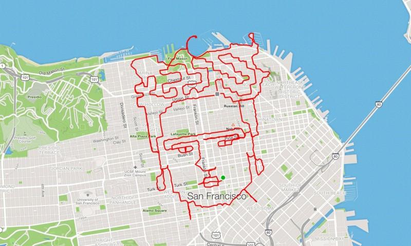 Калифорнийский бегун «рисует» Фриду Кало илого Бэтмена утренней пробежкой