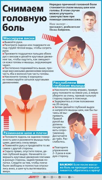 Как снять головную боль с помощью самомассажа? Инфографика